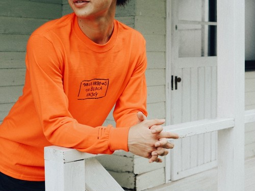【9/11 21:00販売開始】THREEARROWS BOX LOGO L/S TEE(orange)