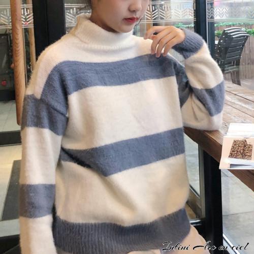 セーター ★ カジュアル お洒落 レディース ストライプ柄 秋冬 ファッション