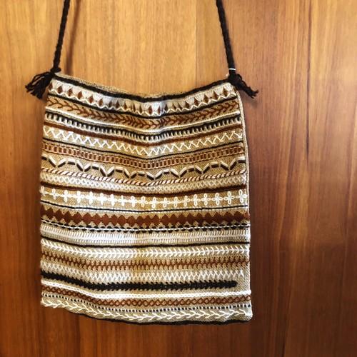 USED 刺繍ショルダーバッグ ハンドメイド 麻バッグ ニットバッグ