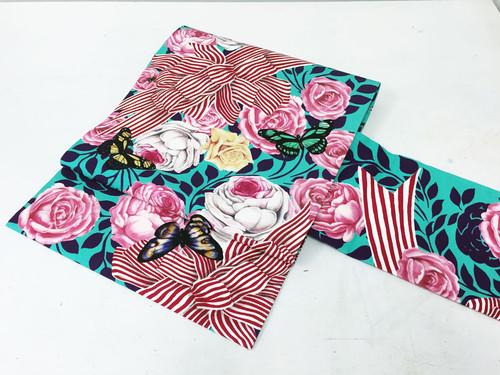 【即納品あり】正絹染名古屋帯「薔薇とストライプリボン」パープル