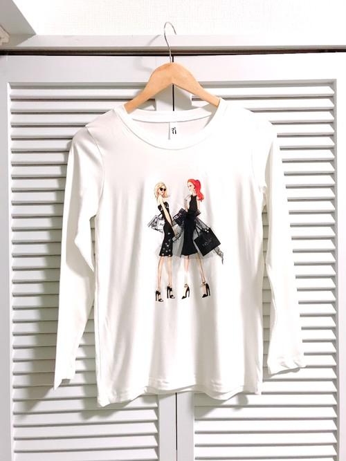 おしゃれ女の子柄ロングTシャツ① ホワイト