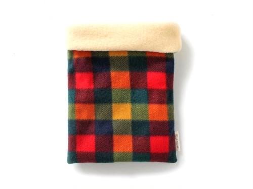 ハリネズミ用寝袋 M(冬用) フリース×フリース カラフルチェックB 【販売終了】