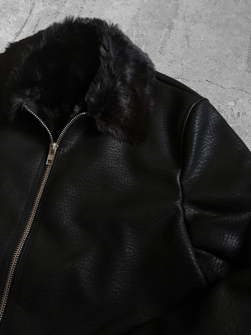 synthetic leather fur jacket