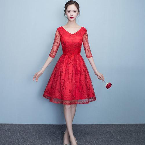 花柄刺繍チュールシースルー七分袖ワンピース♪2色