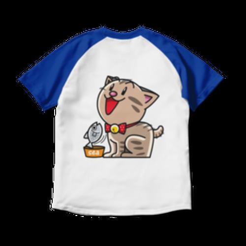 <ラグランTシャツ ホワイト×ロイヤルブルー>両面印刷 おすわりみーちゃん