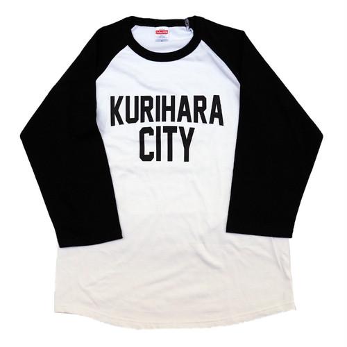 KURIHARA CITY 5.6oz  ラグラン 3/4スリーブ Tシャツ(ホワイト×ブラック)
