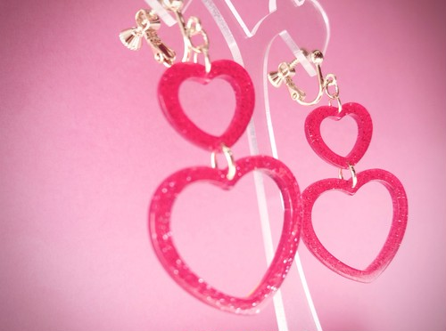 ◎SK brothers◎earring 2連ハート レッド