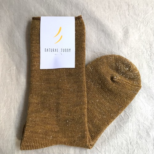 【NATURAL SUNNY】毛絹 ウールシルクソックス マスタード  日本製 靴下【ナチュラルサニー】