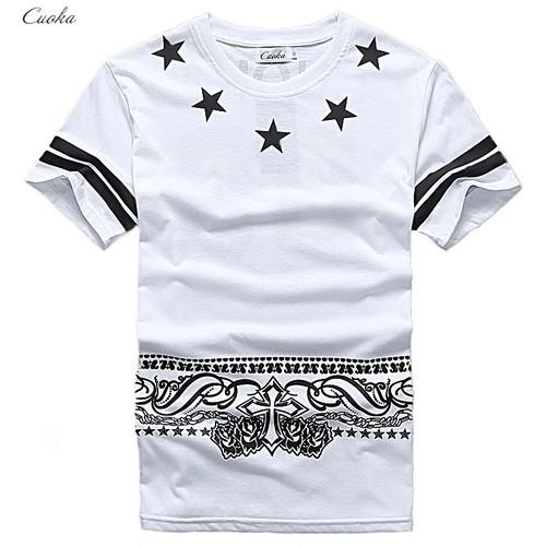 【COOL】ロング丈5スターデザインTシャツ 2カラー