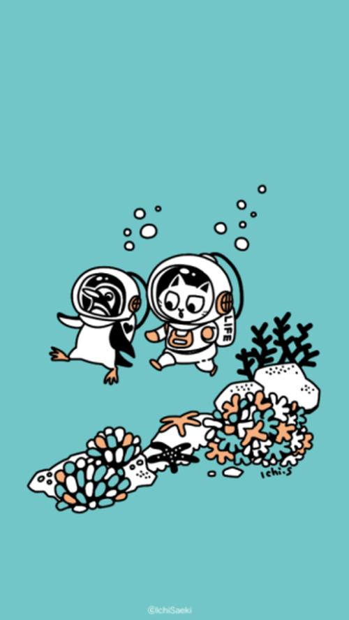 【壁紙】潜水するペンギンと猫
