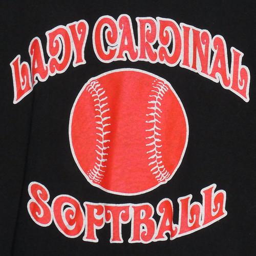 USA古着プリントTシャツL黒LADY CARDINALソフトボール綿 極美品49