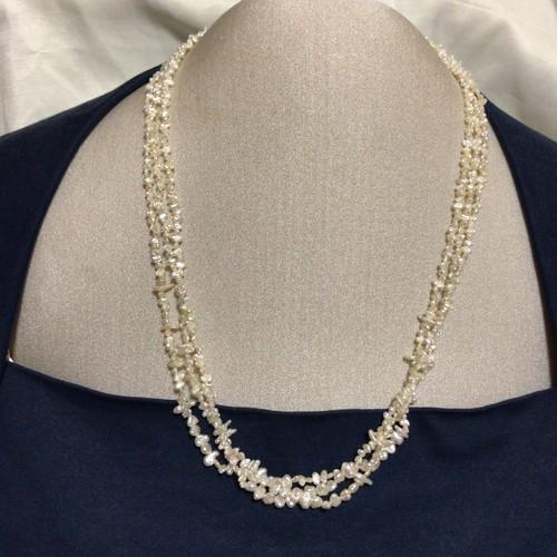 【あこやケシ】芥子パール 本真珠 天然 パール 三連 ネックレス 金具 シルバー