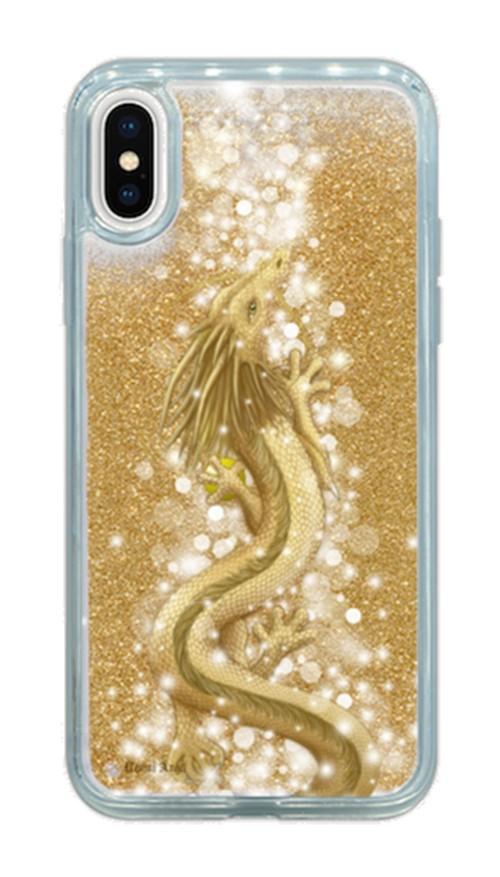 グリッタークリアケース【iPhoneX】豊かさの金龍 Golden Dragon of Abundance