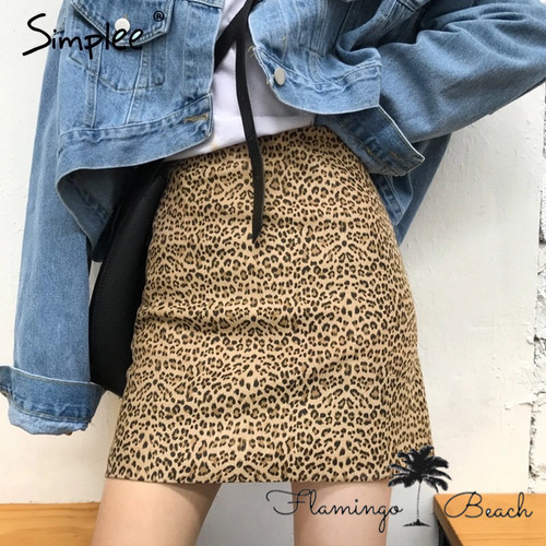 【FlamingoBeach】leopard skirt
