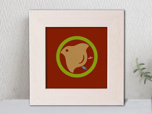 「丸に千鳥」家紋アートフレーム カラフル 家紋額縁 リビングルームに合う家紋 敬老の日、初節句 結婚、出産、新築祝いに