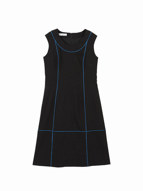 Colour line switched dress  / black × blue / S16DR01