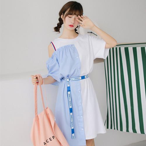 【ワンピース】夏清新学園風少女配色ベルト付きカジュアルワンピース