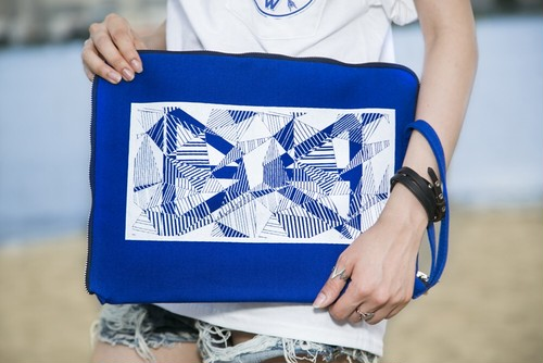 Geometric Clutch bag Blue