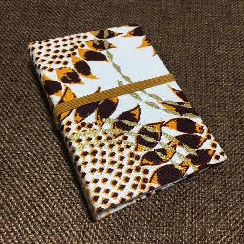 カードケース アフリカンテキスタイル「ひまわり」ブラウン×オレンジ×ホワイト (日本製)アフリカ エスニック バティック パーニュ 名刺入れ 診察券入れ 23
