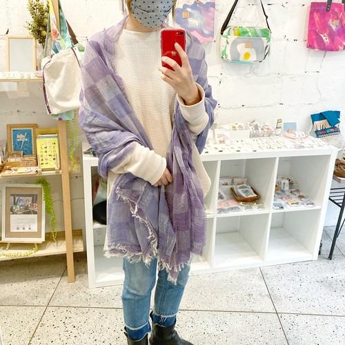 【青いとり】播州織ストール(blue × purple)コットンLsize