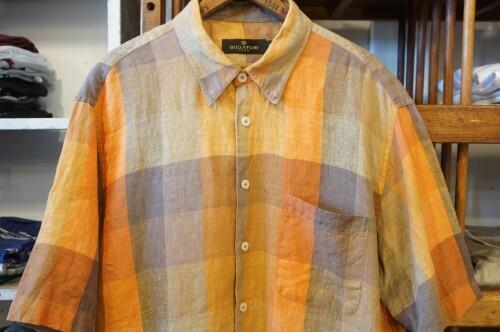 90's BUGATCHI UOMO block-check linen s/s Shirt