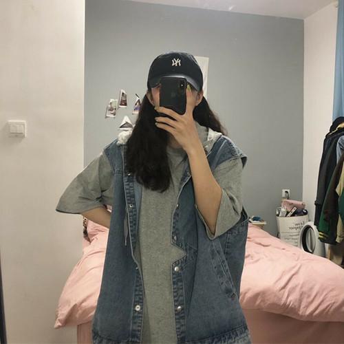 オーバーサイズ!デニムノースリーブジャケット+Tシャツ