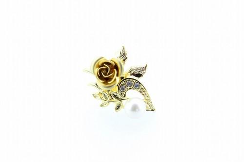 アコヤ真珠 ピンブローチ〈ローズ〉ゴールドカラー