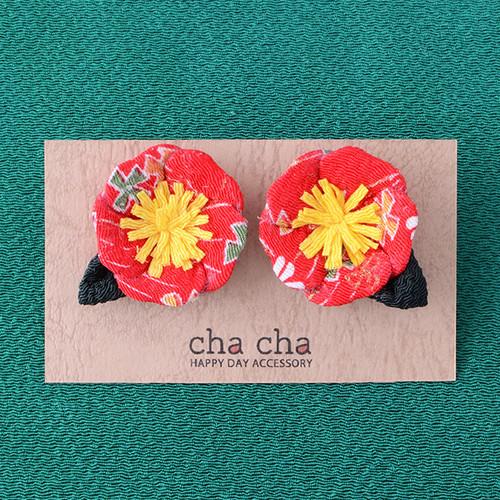 ちりめん椿のフラワーイヤリング/赤・花柄[wa047fp]結婚式 成人式 浴衣 和のアクセサリー