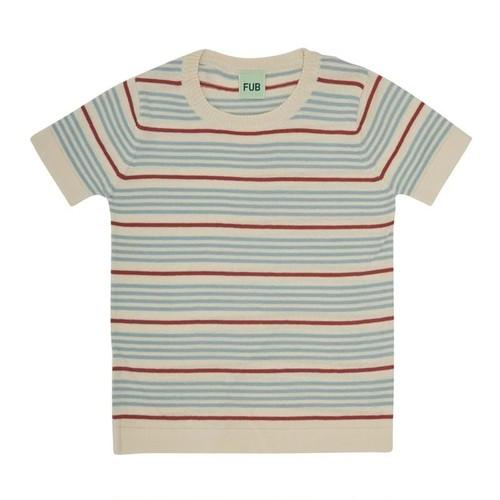 ボーダーニットTシャツ 『FUB』2021SS ダスティブルー Striped T-shirt, ecru/dusty blue GOTS