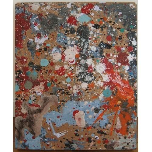 「ジャズ」 廃材の木片にアクリル * アート作品 抽象画 絵画 内野隆文 takafumiuchino