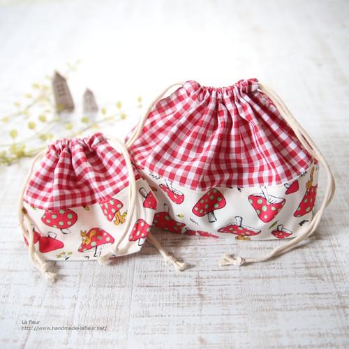 お弁当袋・コップ袋セット*巾着 キノコとリス・赤チェック/Lafleur