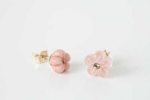 一つ花ピアス イヤリング サーモンピンク