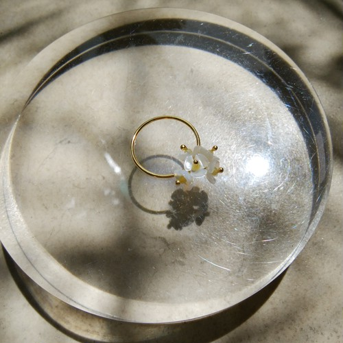 送料無料14kgf*Shell flower bouquet ring #13