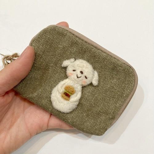 【アトリエNATU】キーケース(ハンバーガー白犬)