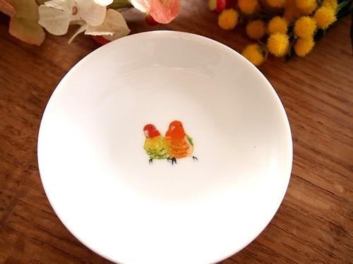 コザクラインコ オレンジ お皿 小(鳥・オウム・インコ)