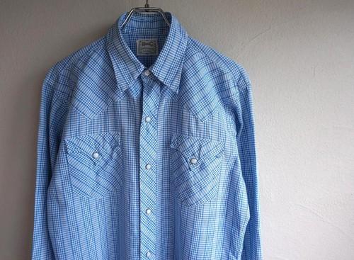 1960's [H BAR C] ウエスタンシャツ ライトブルー×ホワイト 実寸(M位)