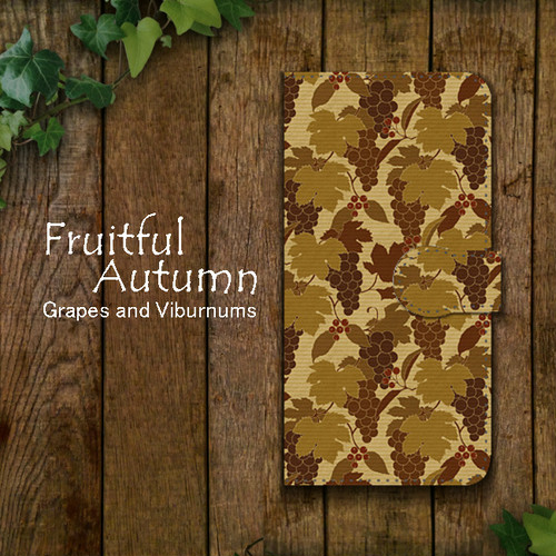 Fruitful Autumn 葡萄柄 craft 手帳型スマホケース iPhone/Android