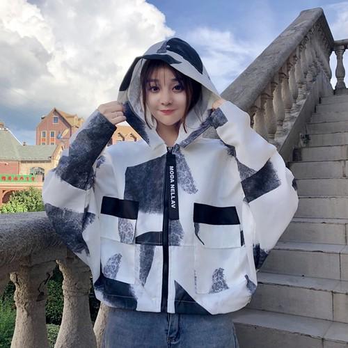 【アウター】新作韓国風ファッションルーズフード付き配色ジャケット
