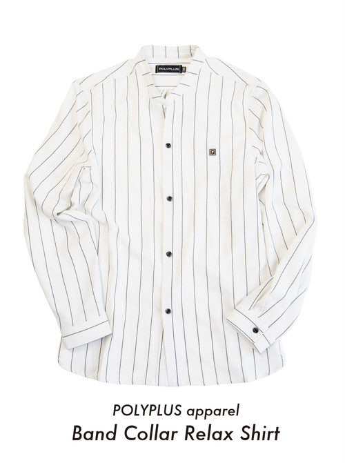 POLYPLUS apparel / Band Collar Relax Shirts  < White >