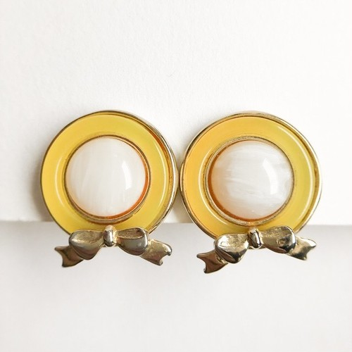 yellow round bow earring[e-1075]