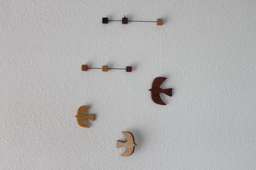 木製鳥モビール