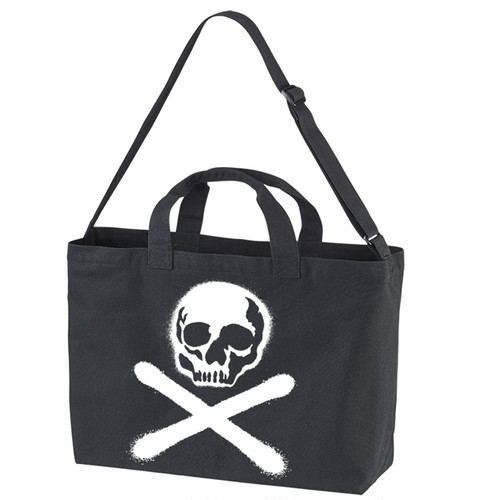 RAKUGAKI Stencil Skull Logo Shoulder Bag Black