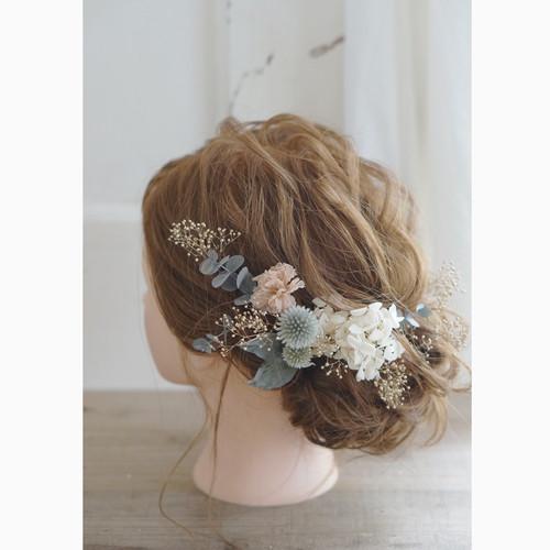 【ヘッドドレス】ゴールドのカスミ草と白アジサイ