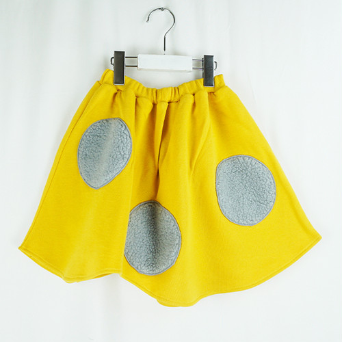 UNEVEN BOA DOTS SWEAT SKIRT
