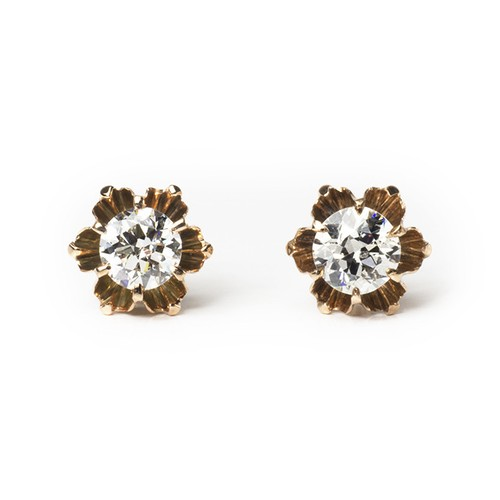 Old European-cut Diamond Buttercup Earrings