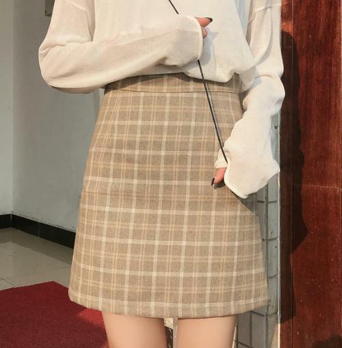 2色 チェック柄 スカート ミニ ハイウエスト タイト シンプル ガーリー レトロ 韓国 オルチャン ファッション