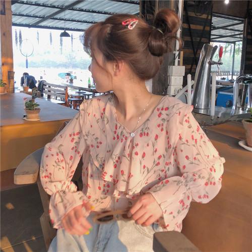 レトロな花柄長袖シフォンシャツ