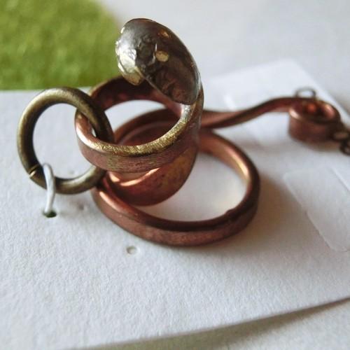 【ヘビ】b    真鍮 ペンダントトップ ※革紐やチェーンは付属いたしません。 #774