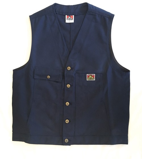 "BEN DAVIS WORK VEST -NAVY ""Made in USA"" <Deadstock>"