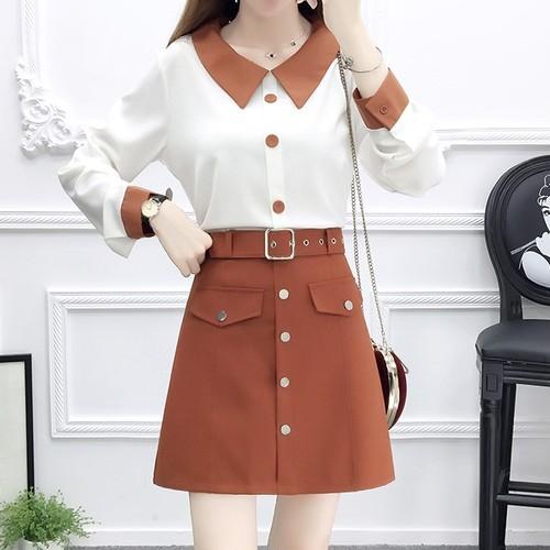 【2点セット】2色/フラットカラーブラウス+ボタン飾りスカート ・17511